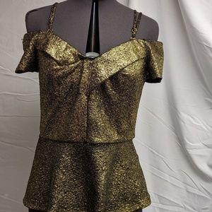 XOXO Tops - Golden Peplem blouse